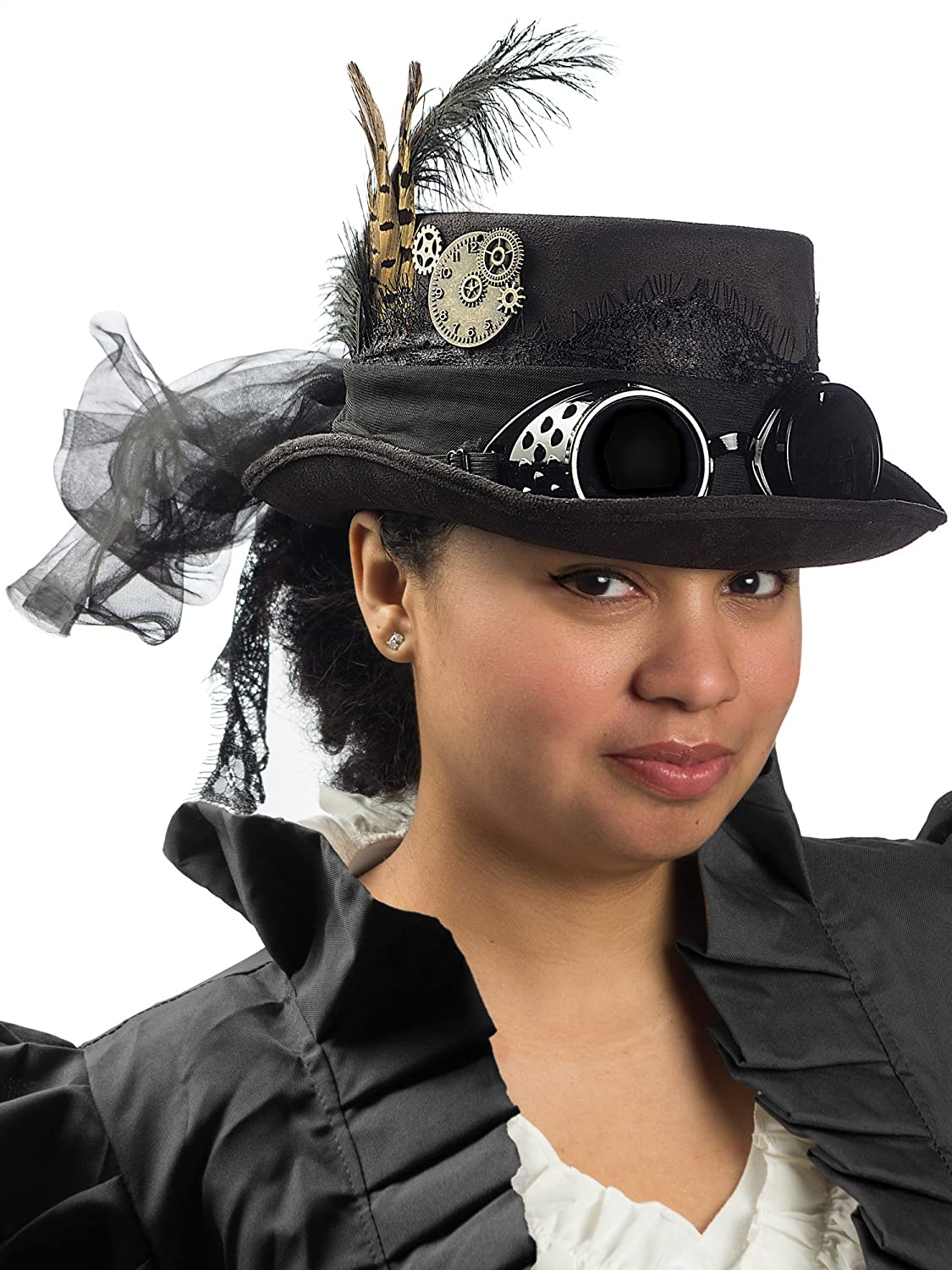 Steampunk Hats | Top Hats | Bowler Deluxe Velvet 4.25 Inch Steampunk Top Hat with Removable Goggles $24.87 AT vintagedancer.com