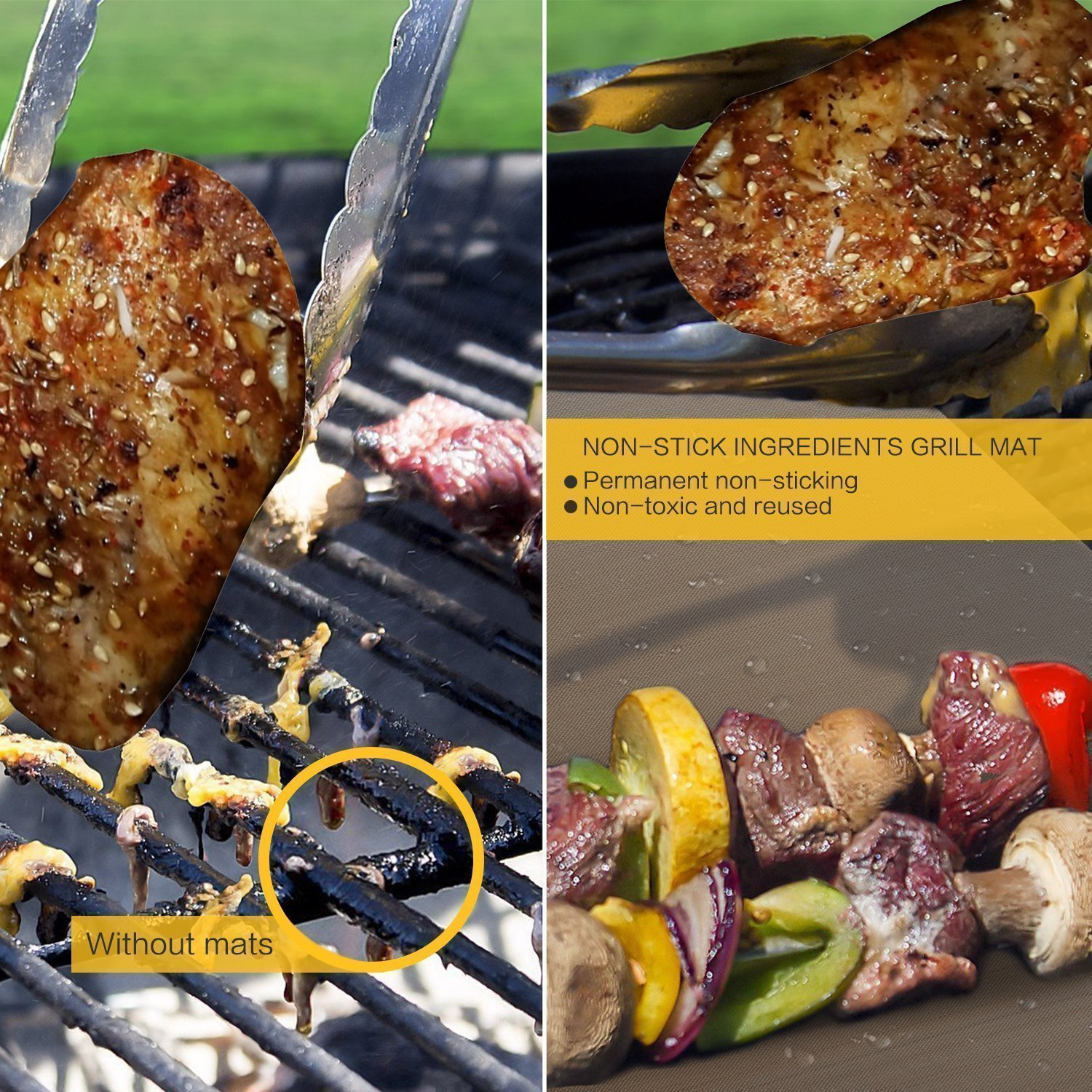 Bake Mat Set of 5 Non Stick BBQ Grill & Baking Mats - Reusable, Easy to Clean - PTFE Teflon Fiber Grill Roast Sheets for Gas, Charcoal, Electric Grill Gold (with 2 Brushes) by EEIEER (Image #4)