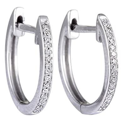 fa15311a43d8a White Diamond Hoop Earrings in 14K White Gold; 0.10 Carats of Sparkling  White Diamonds (G color SI1-SI2 clarity)