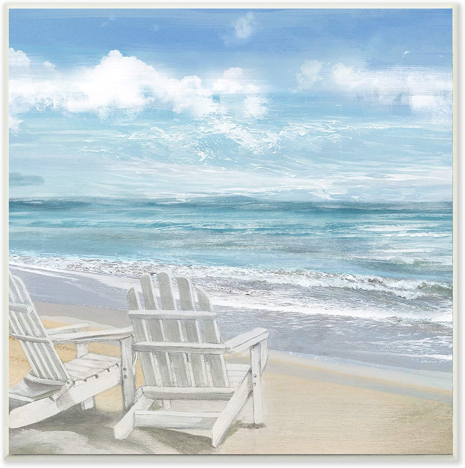 The Stupell Home Décor Collection White Adirondack Chairs on The Beach Painting Wall Plaque Art, 12 x 12, Multi-Color