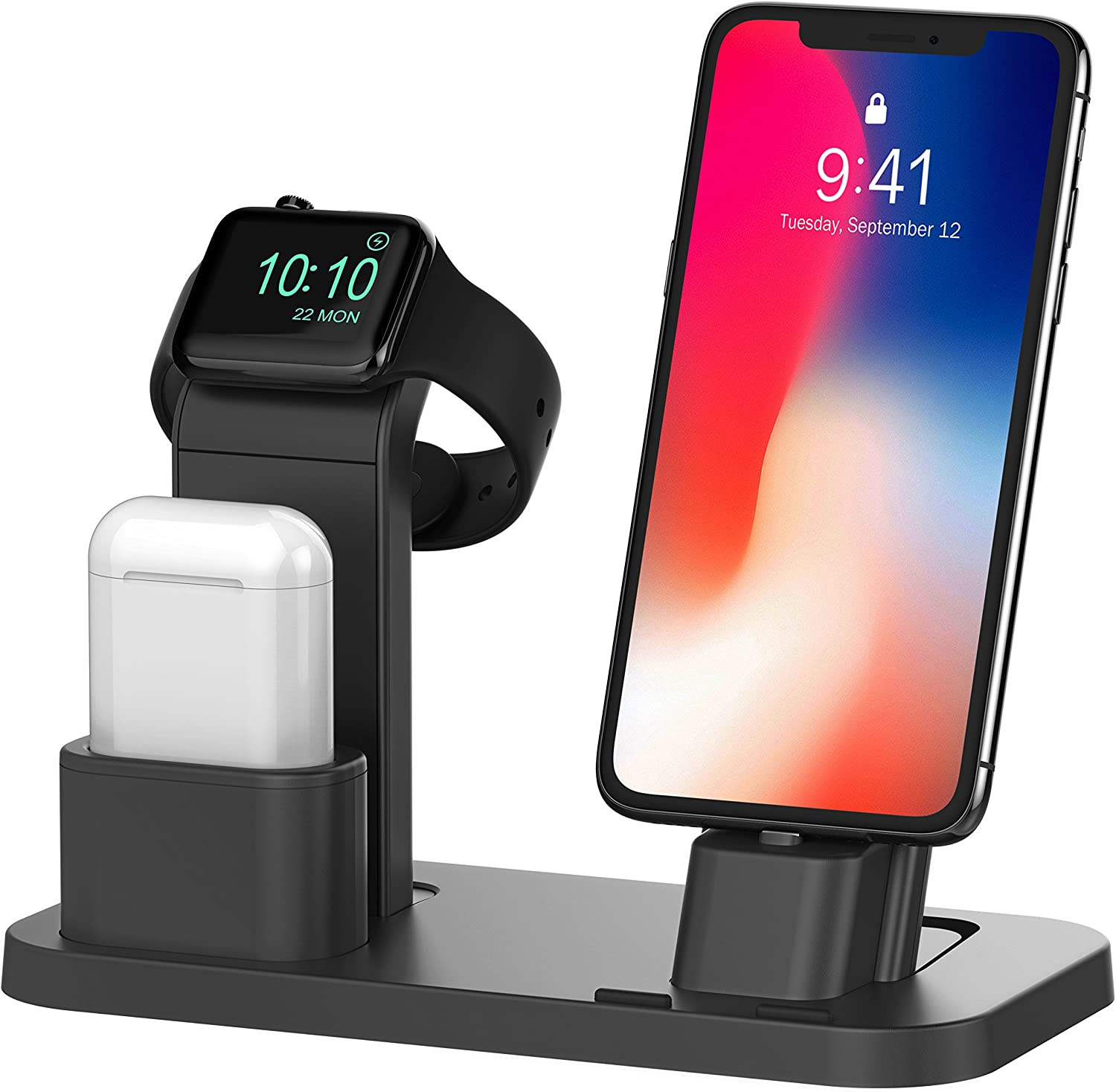 BEACOO Stand for iwatch 5  Charging Stand Dock Station for AirPods Stand Charging Docks Holder  Support for iwatch 5 4 3 2 1 NightStand Mode and for iPhone 11 X 7 7plus SE 5s 6S