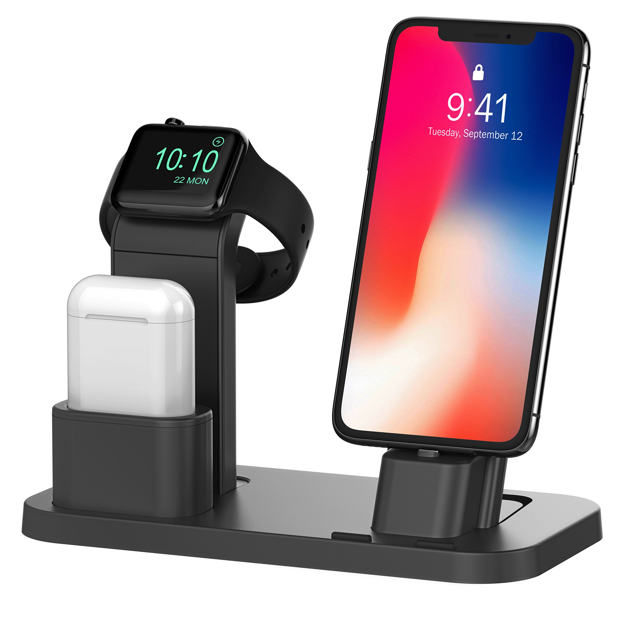 BEACOO Apple Watch Stand, Charging stand Dock Station AirPods Stand Charging Docks Holder, Support Apple Watch NightStand Mode and iPhone X/7/7plus/SE/5s/6S/PLUS with Various Case