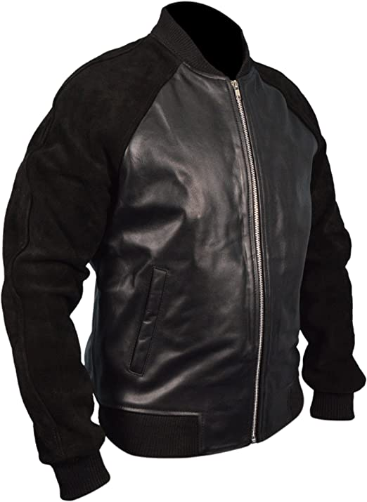 Leather Andrew Garfield Black Leather Jacket with Suede