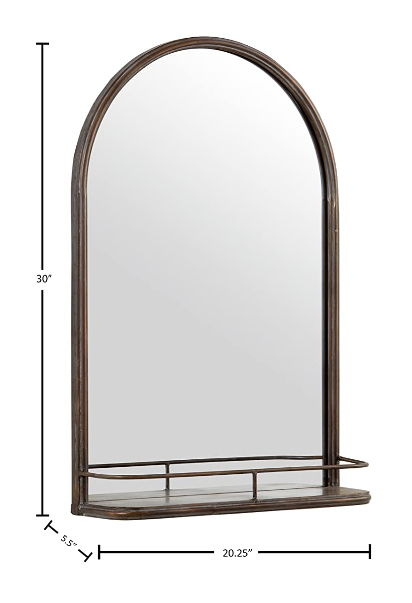 "Stone & Beam Modern Arc Iron Mirror With Shelf, 30""H, Dark Bronze"
