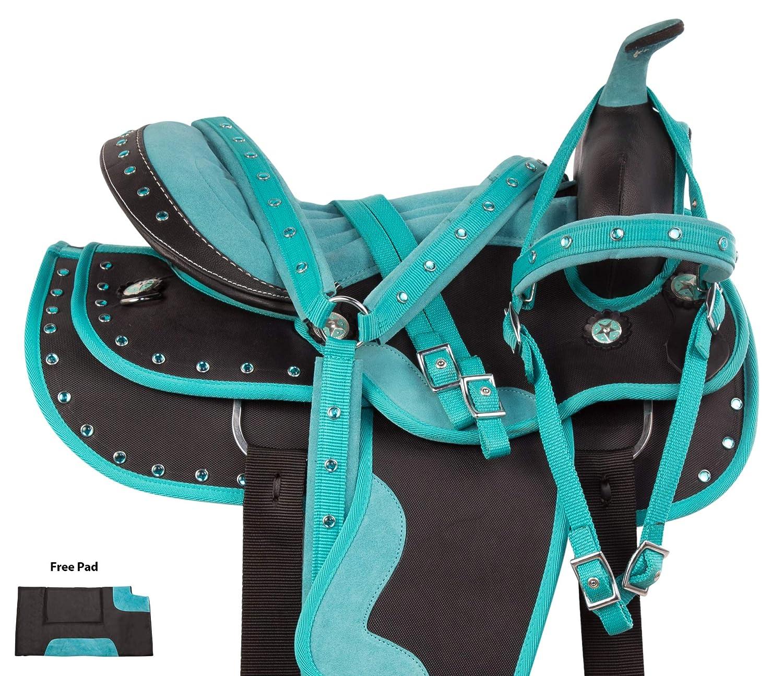 AceRugs ティール 35.56cm 38.1cm 45.72cm 45.72cm ウェスタンショー バレル レーサー トレイル 合成 馬 サドルタックセット付属 15  B07GVT3BVY