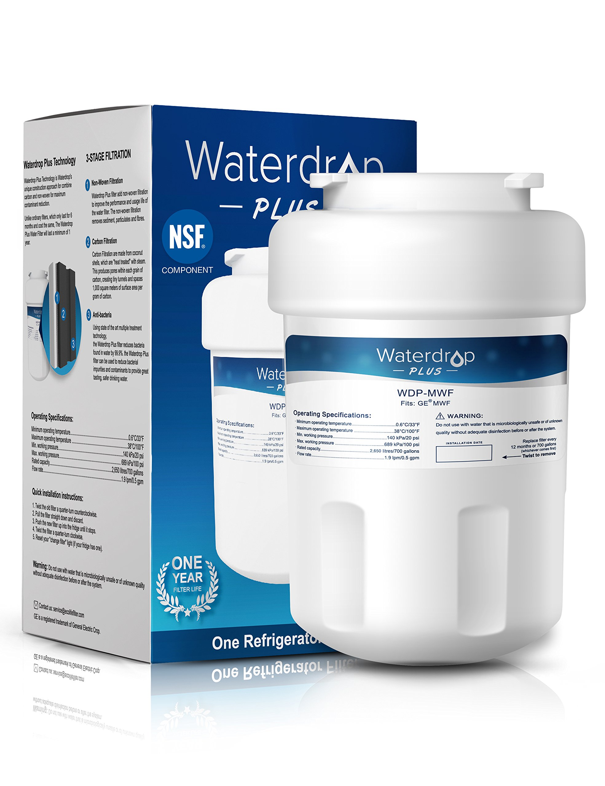 Waterdrop Plus MWF Refrigerator Water Filter Replacement for GE MWF, MWFP, MWFA, GWF, GWFA, SmartWater, Kenmore 9991, 46-9991, 469991 (Double Lifetime)