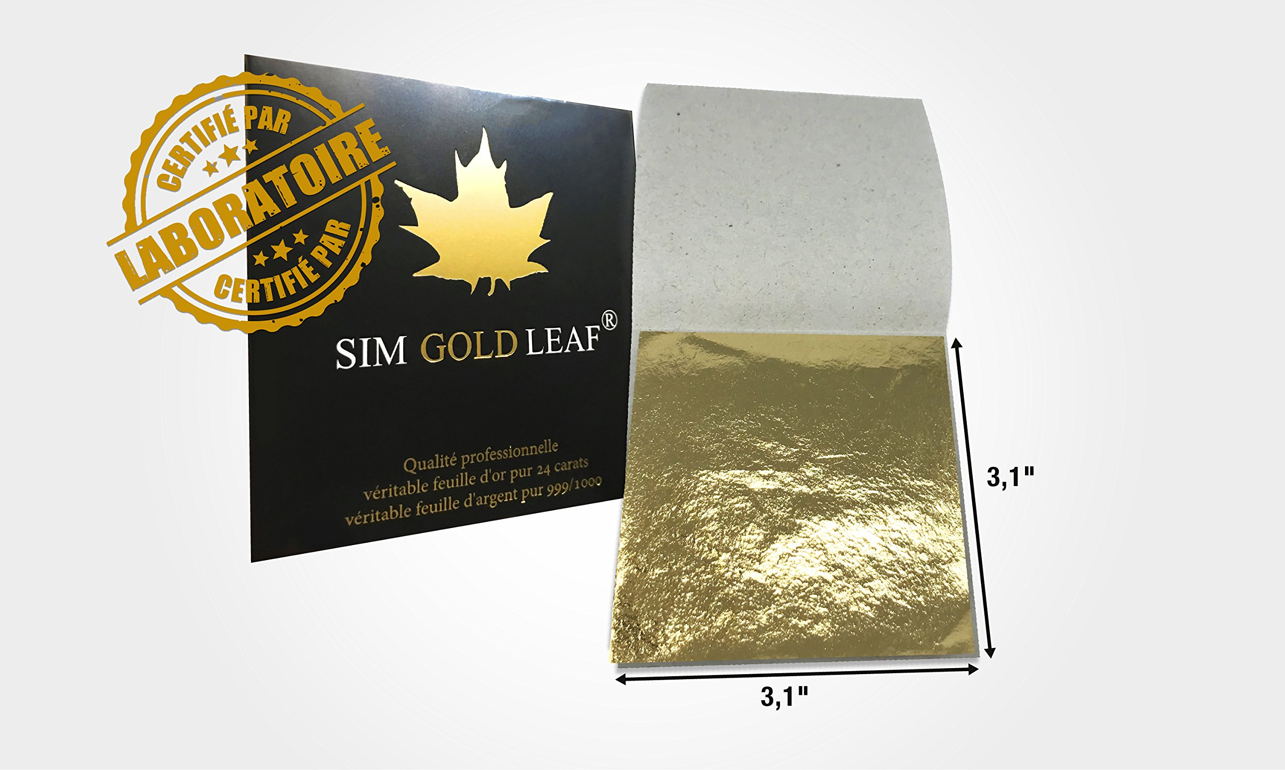 sim gold leaf 10 Sheets, 3-1/8 inches Booklet (Loose Leaf) Professional Quality Genuine edible Gold Leaf Sheets, 24k