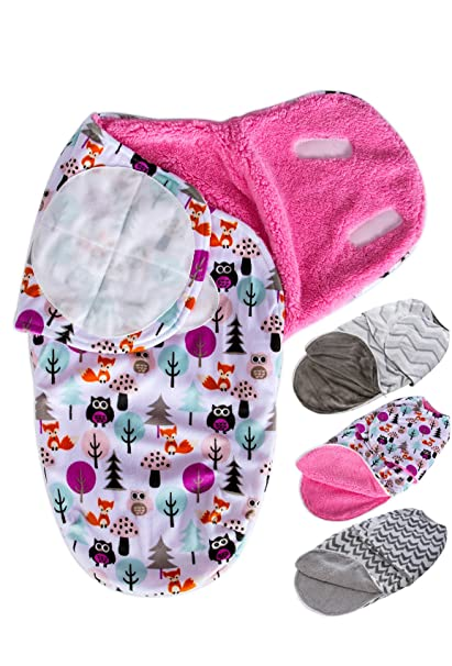 Wonder Miracle newborn baby swaddle blanket , soft thick warm fleece forest friends velcro sleepsack wrap with extra bottom zipper for boy or girl (Small, 12 x 22 inches, 0-4 months