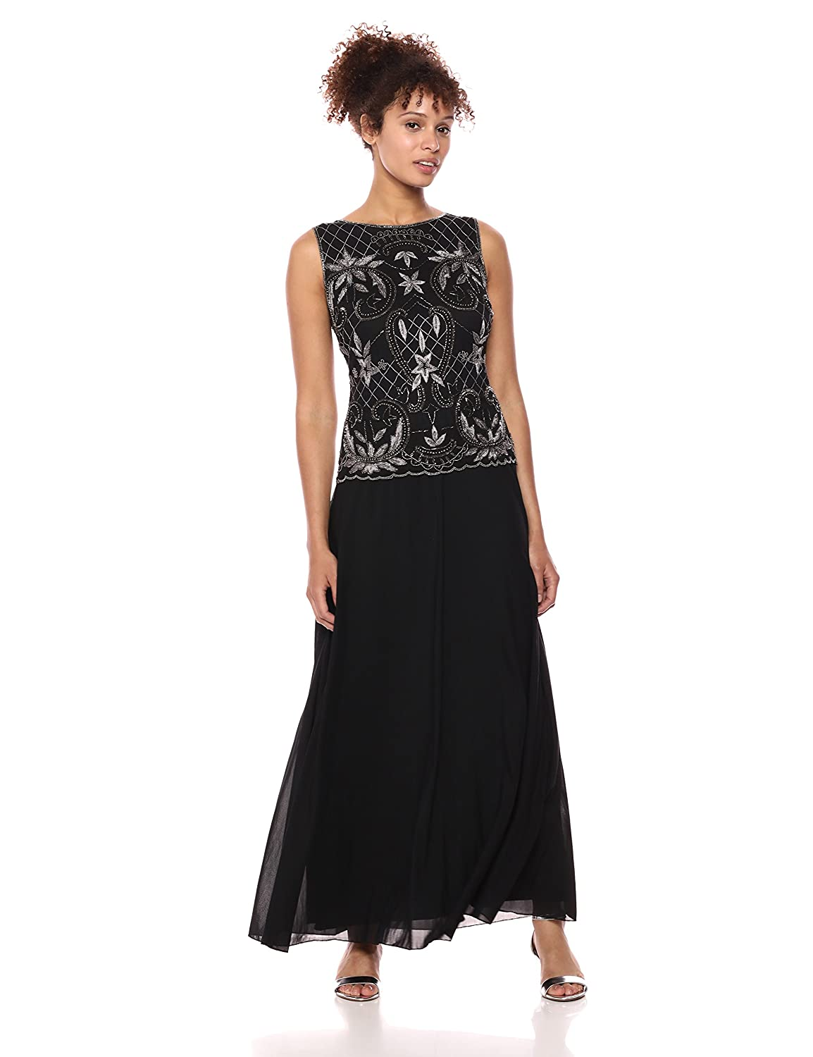 Black Mercury Pisarro Nights Womens Long Mock TwoPiece with Embroided Motif Special Occasion Dress