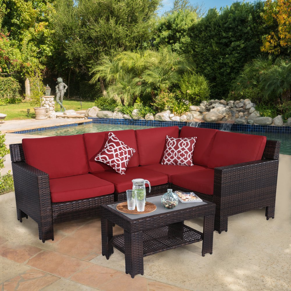 Diensday outdoor furniture 5 piece conversation set all weather brown wicker deep seating with red water resistant olefin cushions sophisticated glass