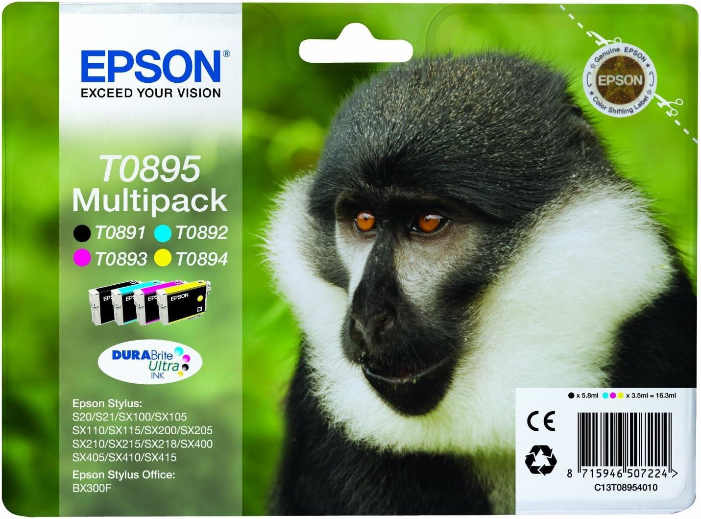 Multipack 4 Tintenpatronen T0895 Schwarz Cyan Elektronik