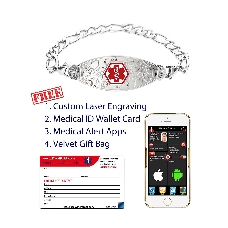 Medical ID Bracelet w//Free Engraving Divoti Custom Engraved Medical Alert Bracelets for Women Stainless Steel Medical Bracelet Color//Size Lovely Filigree Tag w//Figaro