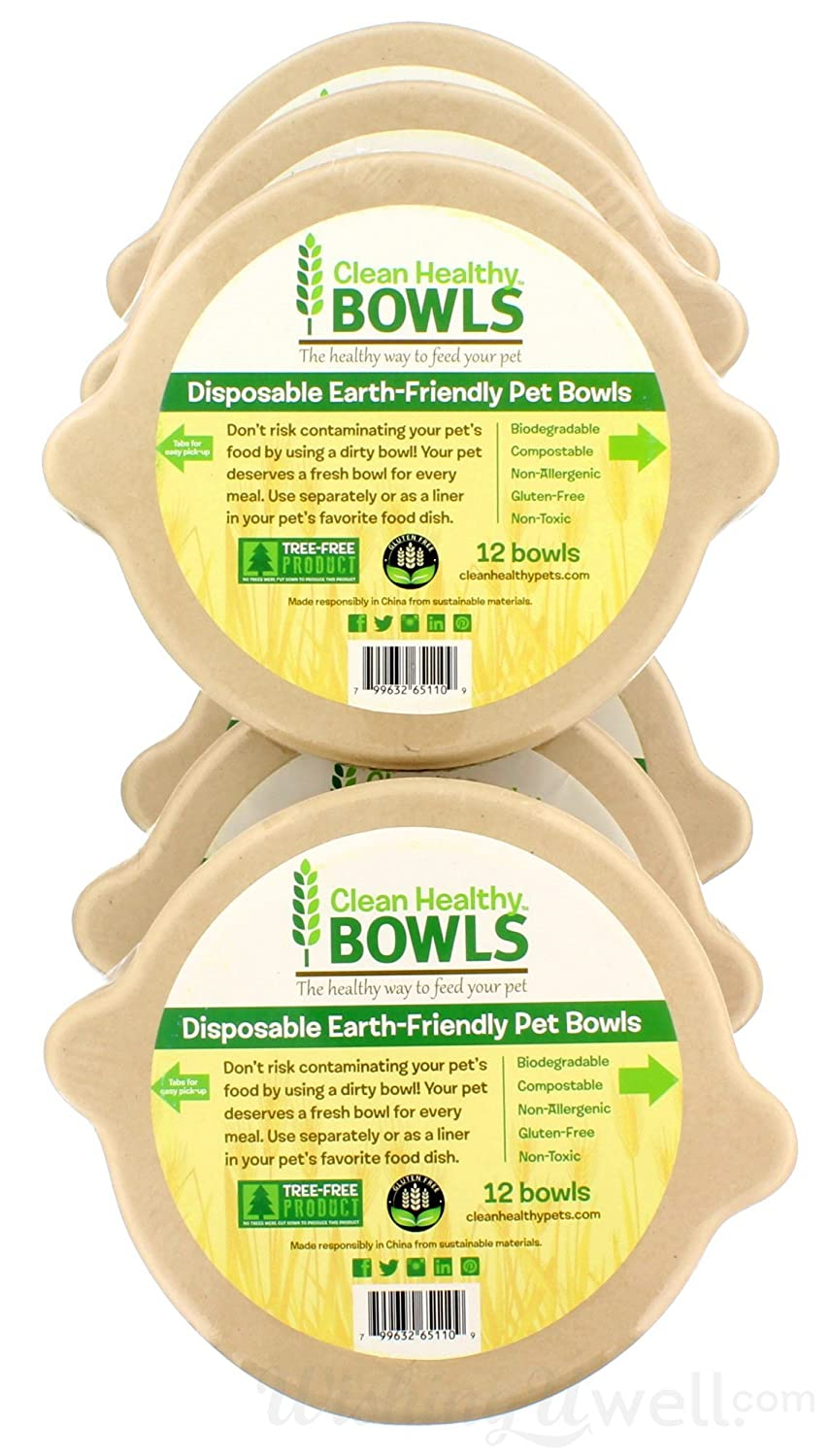 Clean Healthy Bowls Disposable Earth-Friendly Pet Bowls, case of 72 bowls