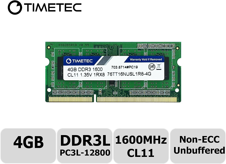 Timetec Hynix IC 4GB DDR3L 1600MHz PC3L-12800 Non ECC Unbuffered 1.35V CL11 1Rx8 Single Rank 204 Pin SODIMM Laptop Notebook Computer Memory Ram Module Upgrade (High Density 4GB)