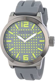 Kenneth Cole Reaction Unisex RK1322 Street Gunmetal Round Case Perforated Dial Yellow Accents Watch