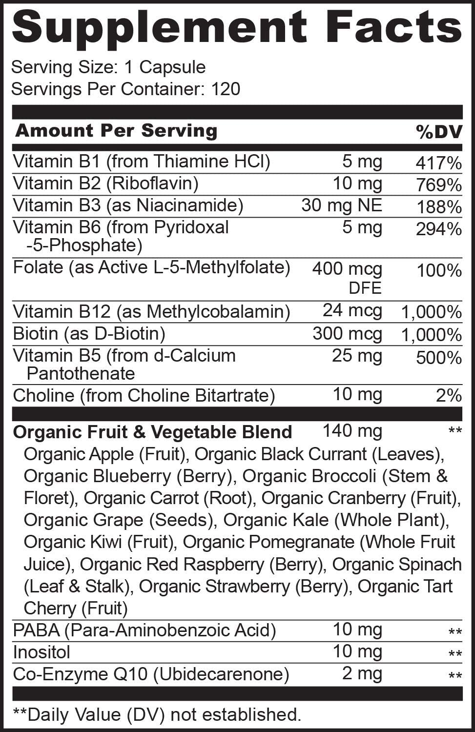 NATURELO B Complex - Whole Food - with Vitamin B6, Folate, B12, Biotin - Vegan - Vegetarian - Best Natural Supplement for Energy and Stress - High Potency - Non GMO - Gluten Free - 120 Capsules: Health & Personal Care