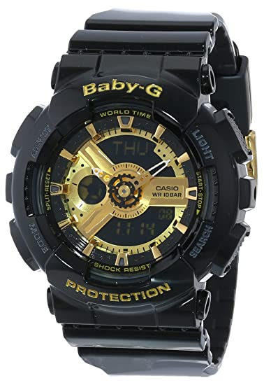 Casio Womens BA-110-1ACR Baby-G Goldtone Analog-Digital Display and Black Resin Strap Watch