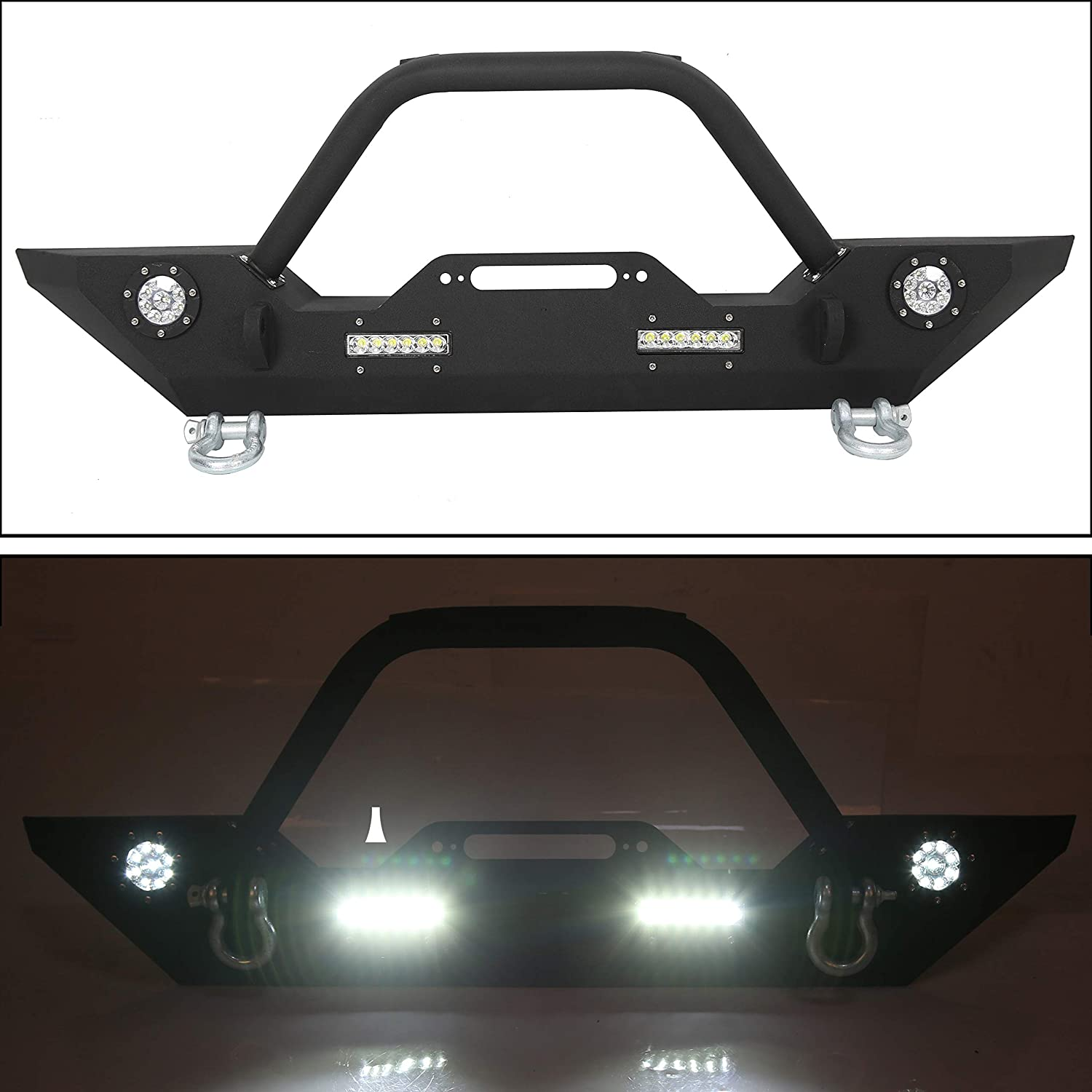Front Bumper W//Winch Plate /& LED Lights D-rings for 2007-2018 Jeep Wrangler JK Rock Crawler Front Bumper