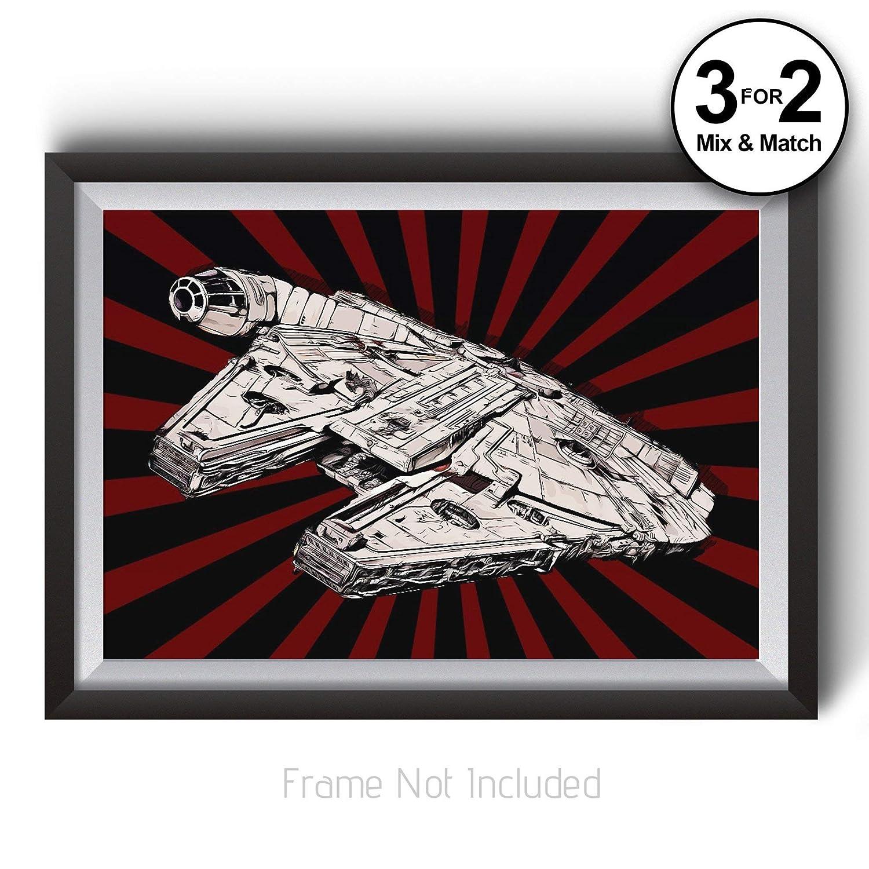 Abstract Movie Giclee Wall Art Millennium Falcon Poster Star Wars Art Print