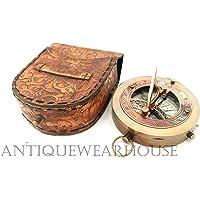 Antiguo Londres latón brújula piel Craving Brújula Brújula de bolsillo coleccionable