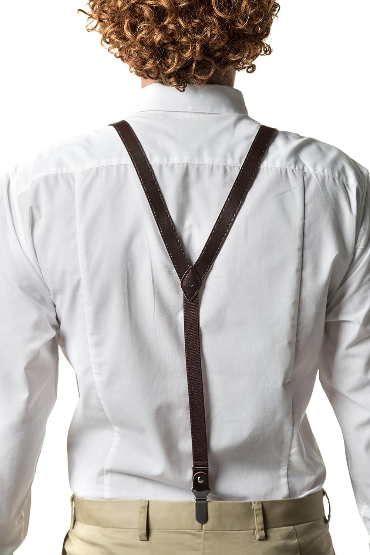 Marino Avenue KLOOPE Leather Suspenders for Men Fashion Y Back Bowtie Suspender Set