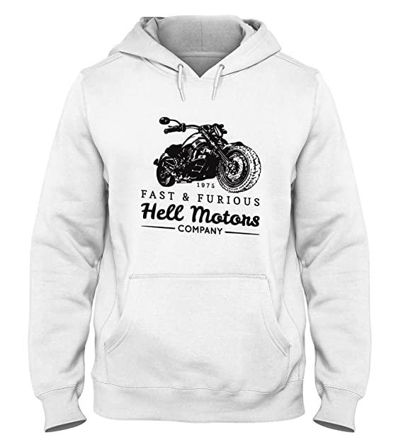 Sudadera con Capucha para Hombre Blanca TB0460 Vintage Biker with Motorcycle Retro Hand sketchedtype with Chopper Bike: Amazon.es: Ropa y accesorios