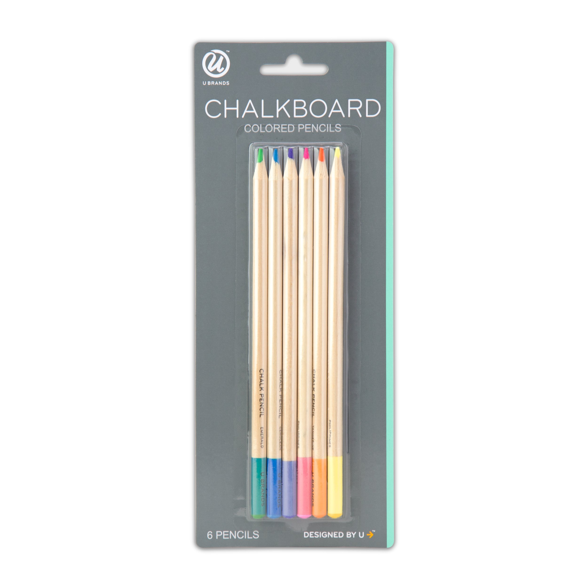 U Brands Chalkboard Colored Pencils, Assorted Colors, 6-Count by U Brands (Image #1)