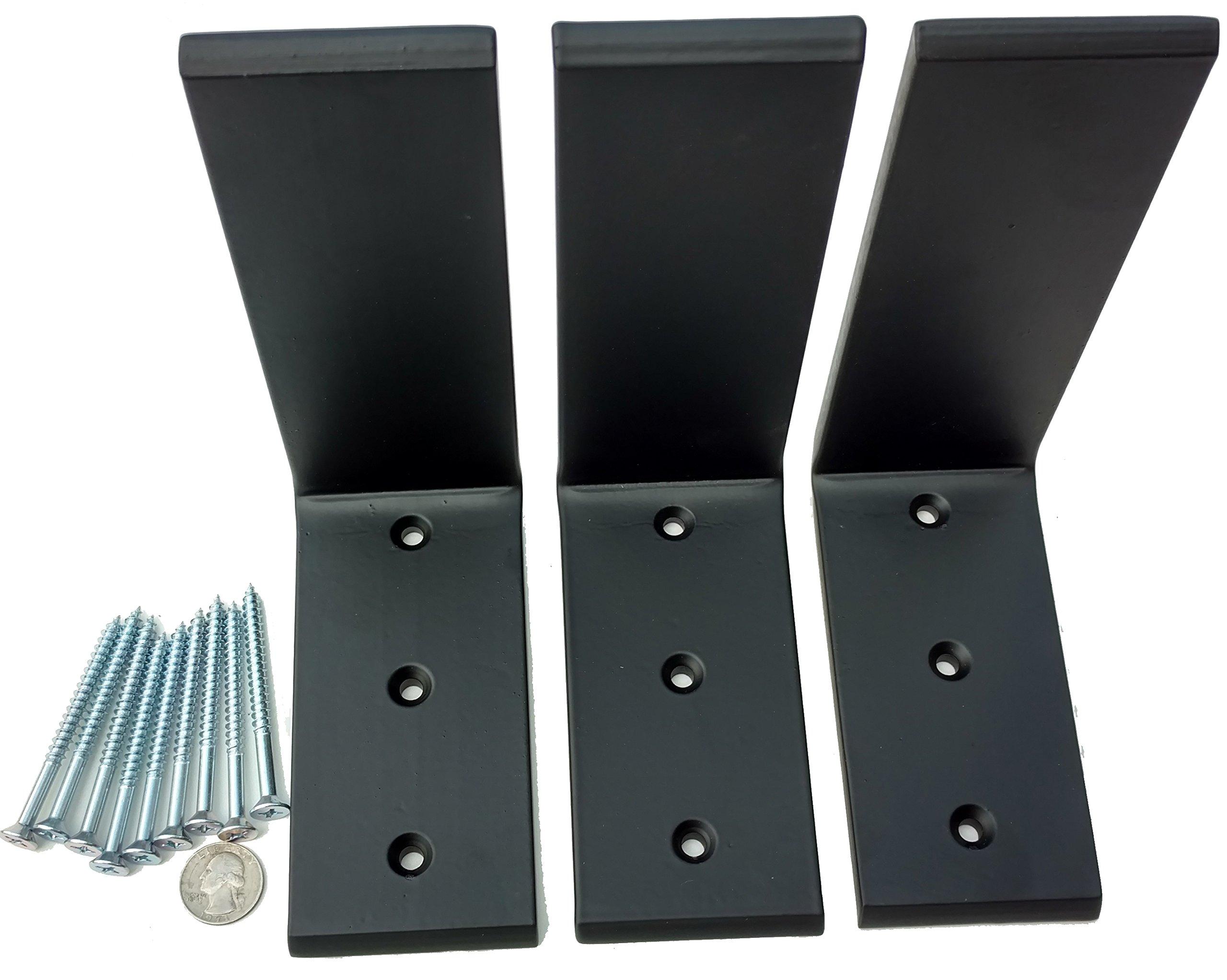3 Heavy Duty Black Steel 6'' x 8'' Countertop Support Brackets Corbel L Shelf by Unknown