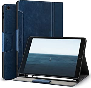 Antbox Case for iPad 10.2 8th Gen (2020)/7th Gen (2019) with Built-in Apple Pencil Holder Auto Sleep/Wake Function PU Leather Stand Smart Cover(Blue)