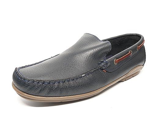 Zapato casual hombre tipo mocasin DELTELL en piel color azul marino tira pasado cuero - 935