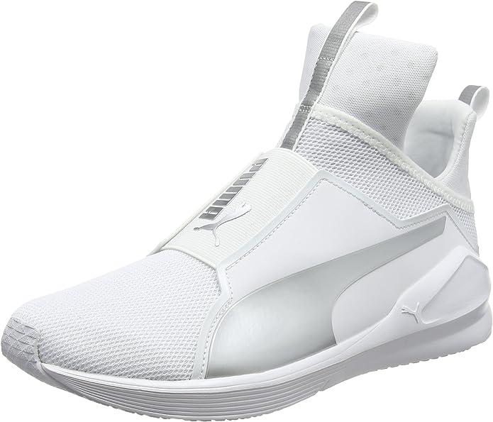 Puma Fierce Core Sneakers Trainingsschuhe Damen Weiß mit Silber Streifen und Logo