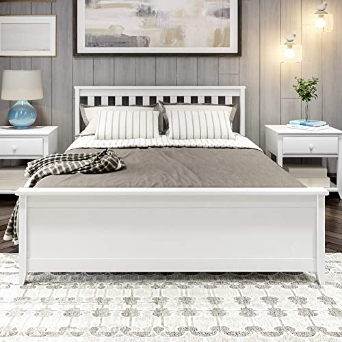 Plank Beam Solid Wood Queen-Size Bed, White