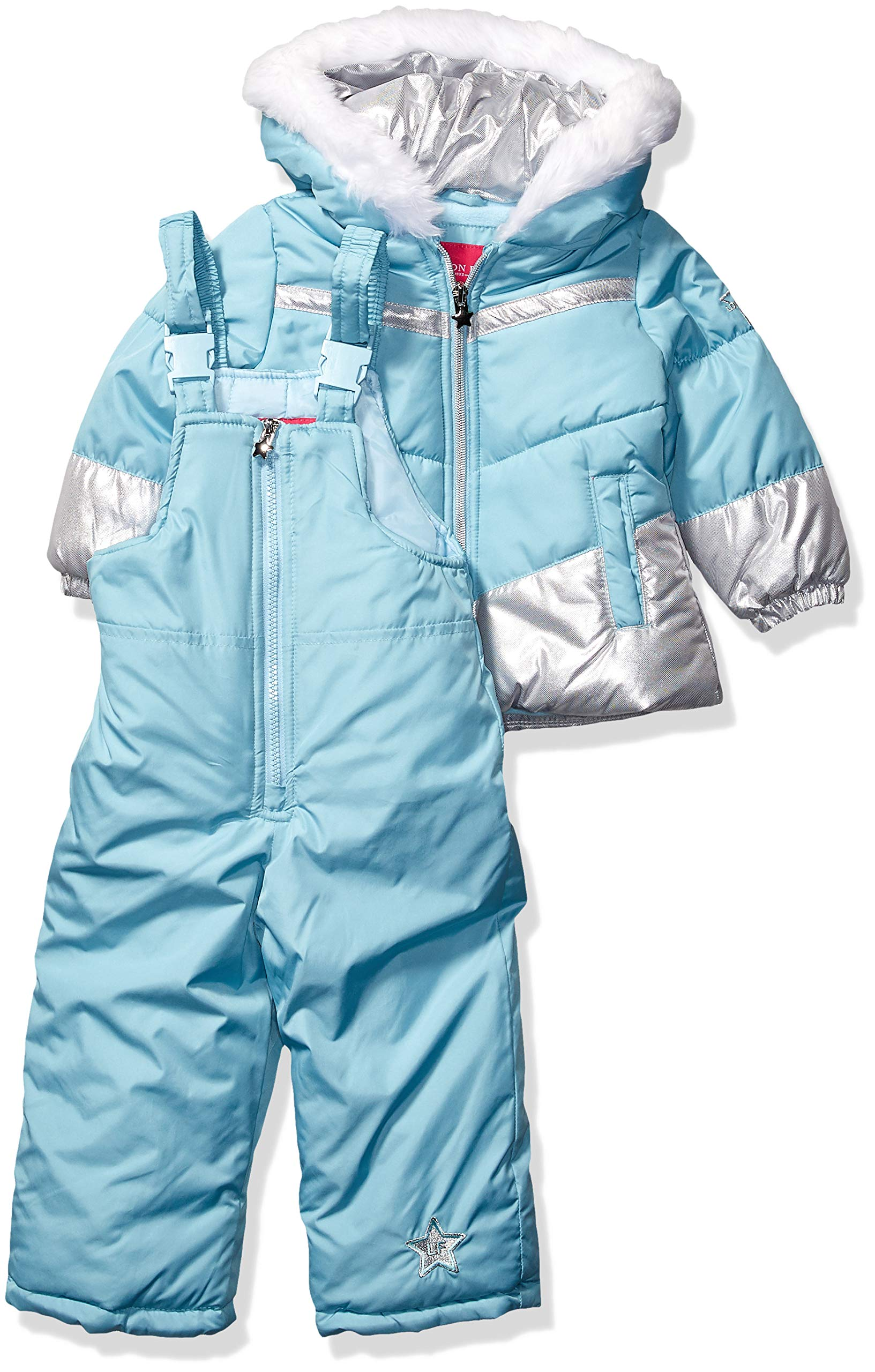 London Fog Girls' Toddler Snowsuit with Snowbib and Puffer Jacket, September Sky Foil, 2T