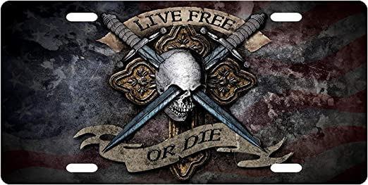 Cara King for Eyes Contacts Live Free Or Die Skull Front Metal Aluminum License Plate Vanity car Tag Home Door Sign 6 x 12 with 4