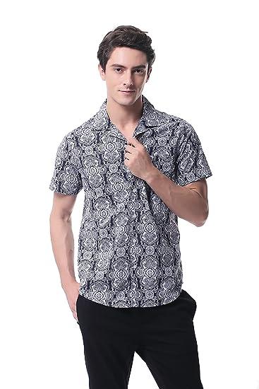 92d4526113d P-14 Men s Hawaiian Aloha Short-Sleeve Shirts Casual Cotton Beach Party(L