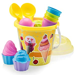 "Top Race Beach Toys, Sand Toys, 16 Piece Ice Cream Mold Set for Kids 3-10 with Large 9"" Beach Toy Bucket Pail for Kids and Toddlers (Ice Cream)"