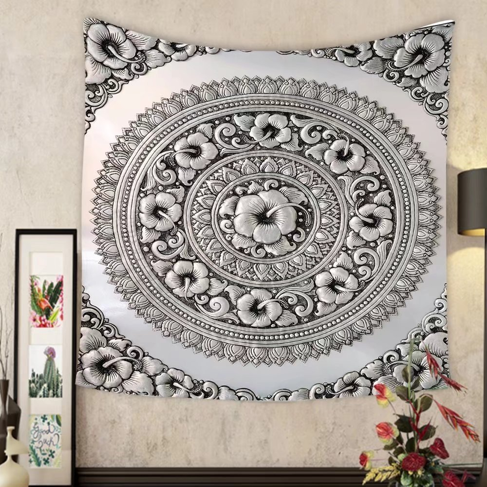 Lee S. Jones Custom tapestry silver lacquer show flower art balance global crafts thai artists place in chiang mai thailand by Lee S. Jones