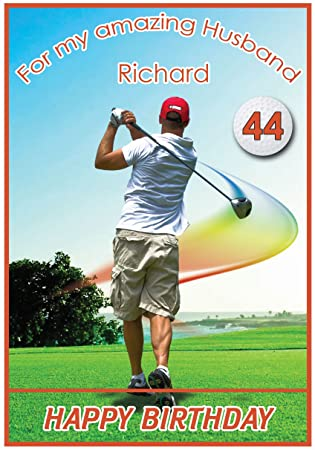 Personalised Golf Theme Birthday Card Amazoncouk Office Products