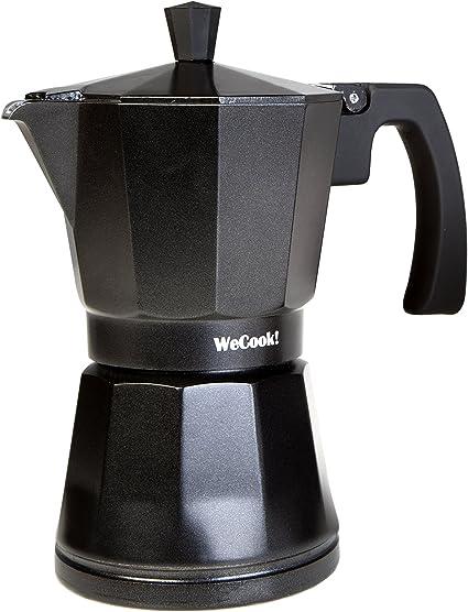 WECOOK! Luccia Cafetera Italiana inducción de aluminio express, 3 tazas café, apta para todas las cocinas, color negro, junta de cierre de silicona, válvula de seguridad: Amazon.es: Hogar