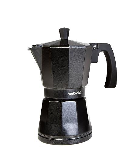 WeCook 30103 Cafetera Italiana Aluminio Inducción, Vitrocerámica y Fogón, 3 tazas, negro,