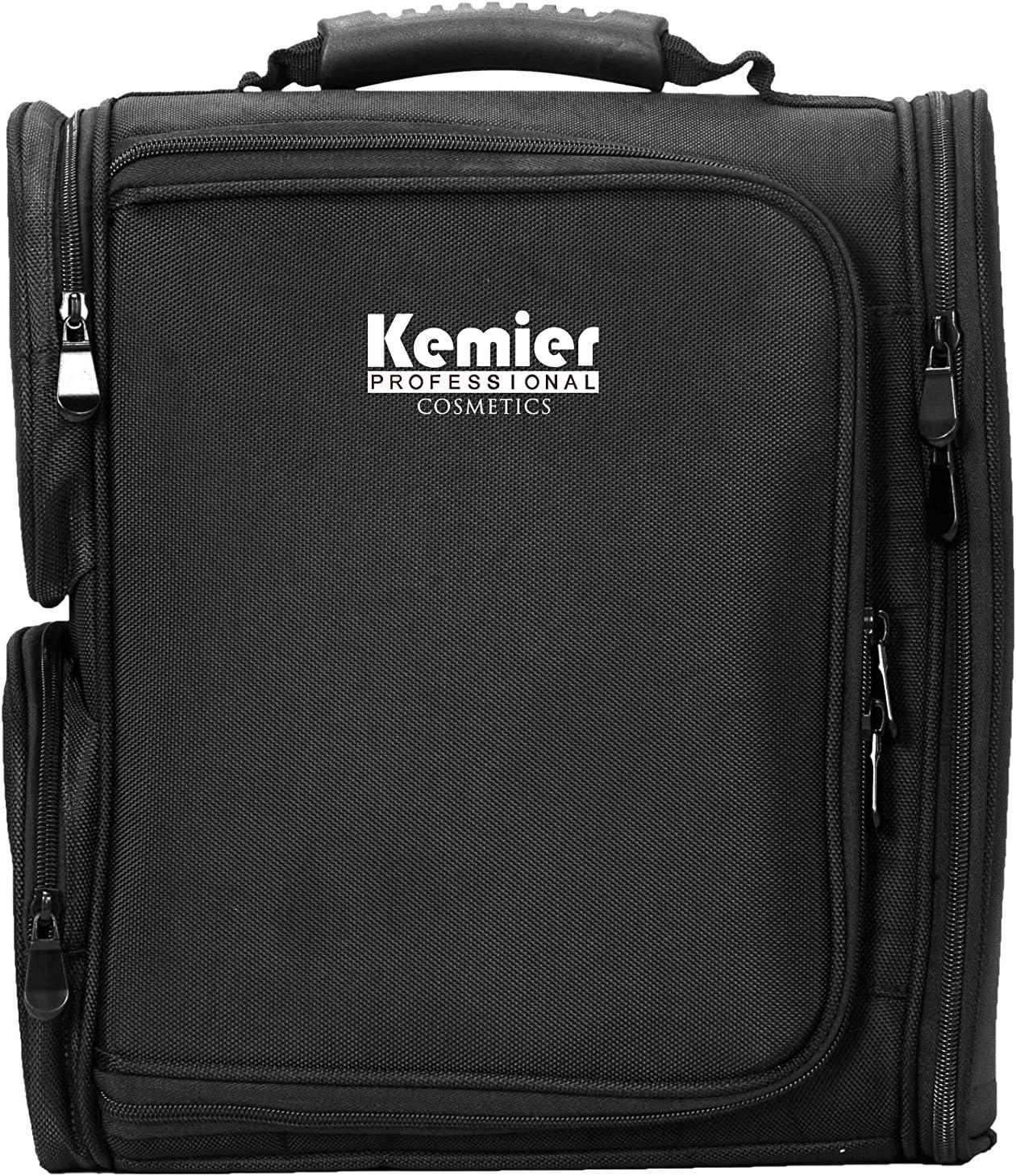Kemier Professional Makeup Artist - Mochila con bolsas de almacenamiento transparentes para cosméticos, bolsa con forro térmico, color negro