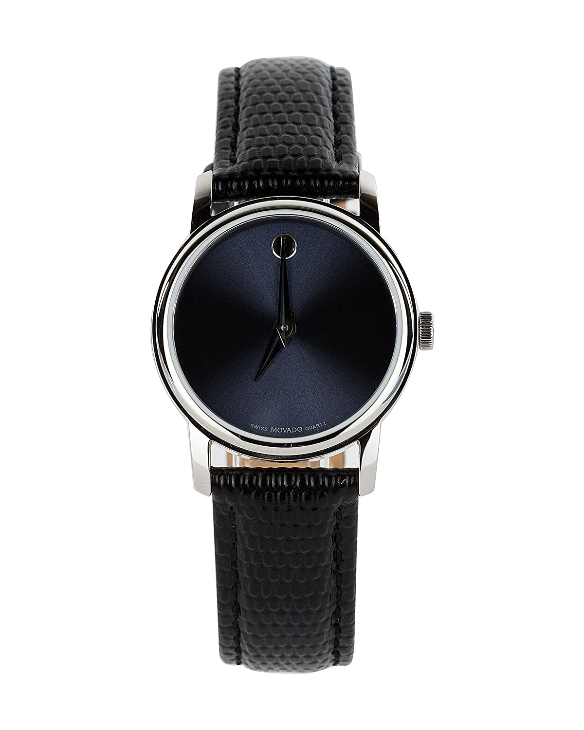 8c41af74a Amazon.com: Movado Museum Blue Dial Black Leather Strap Women's Swiss  Watch: Watches
