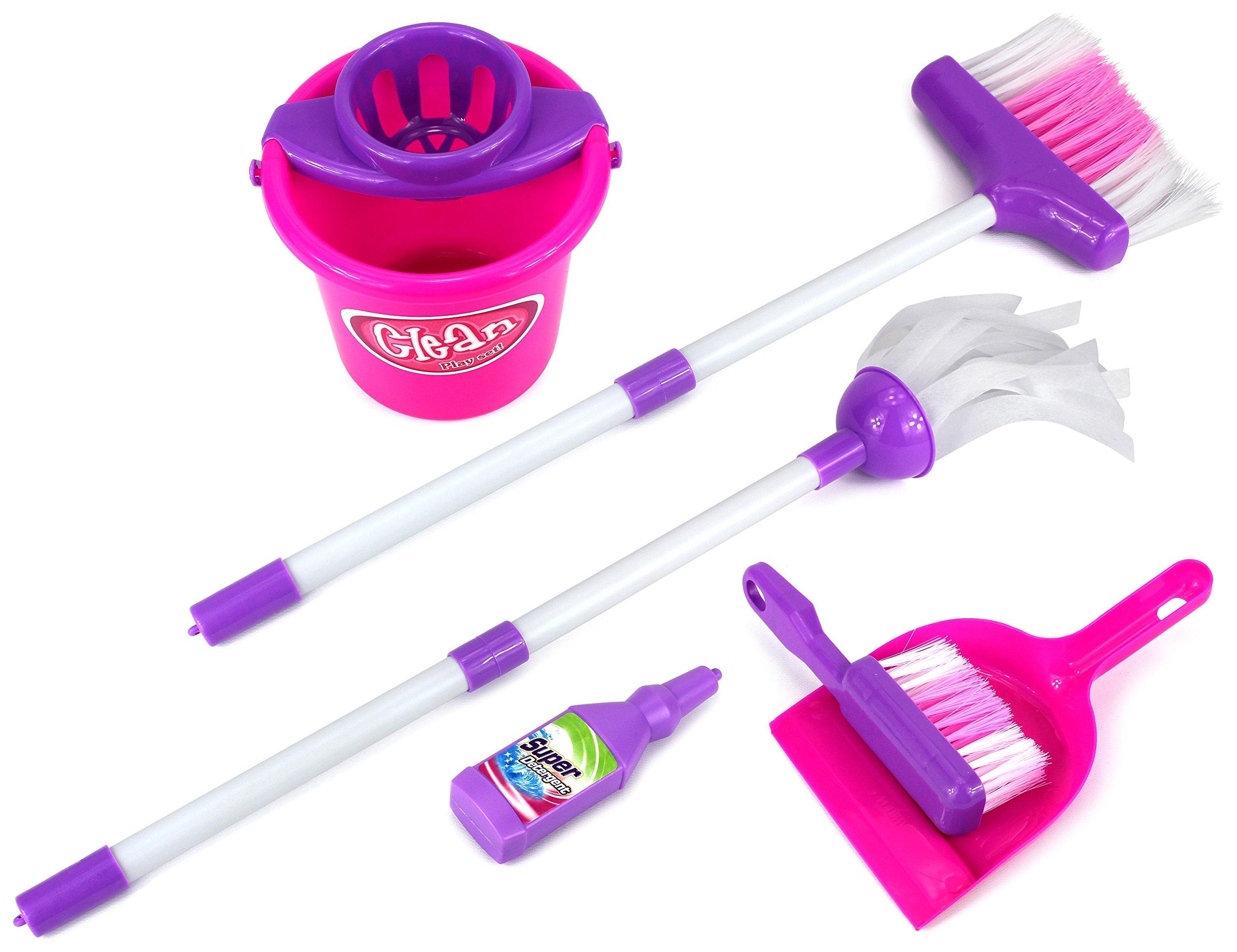 Velocity Toys Little Helper 'E' Deluxe Children's Kid's Pretend Play Toy Cleaning Play Set w/ Broom, Mop, Bucket, Dust Pan, Brush, Mock Soap Bottle