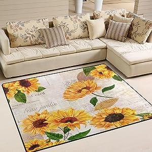 ALAZA Vintage Sunflower Area Rug Rugs for Living Room Bedroom 7' x 5'