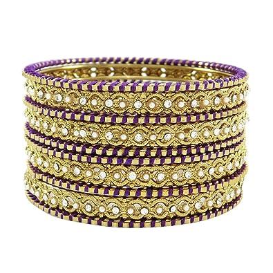 d01a8f1a389d Banithani hilo de seda dorado brazaletes envueltos bisutería indio 2  4   Amazon.es  Joyería