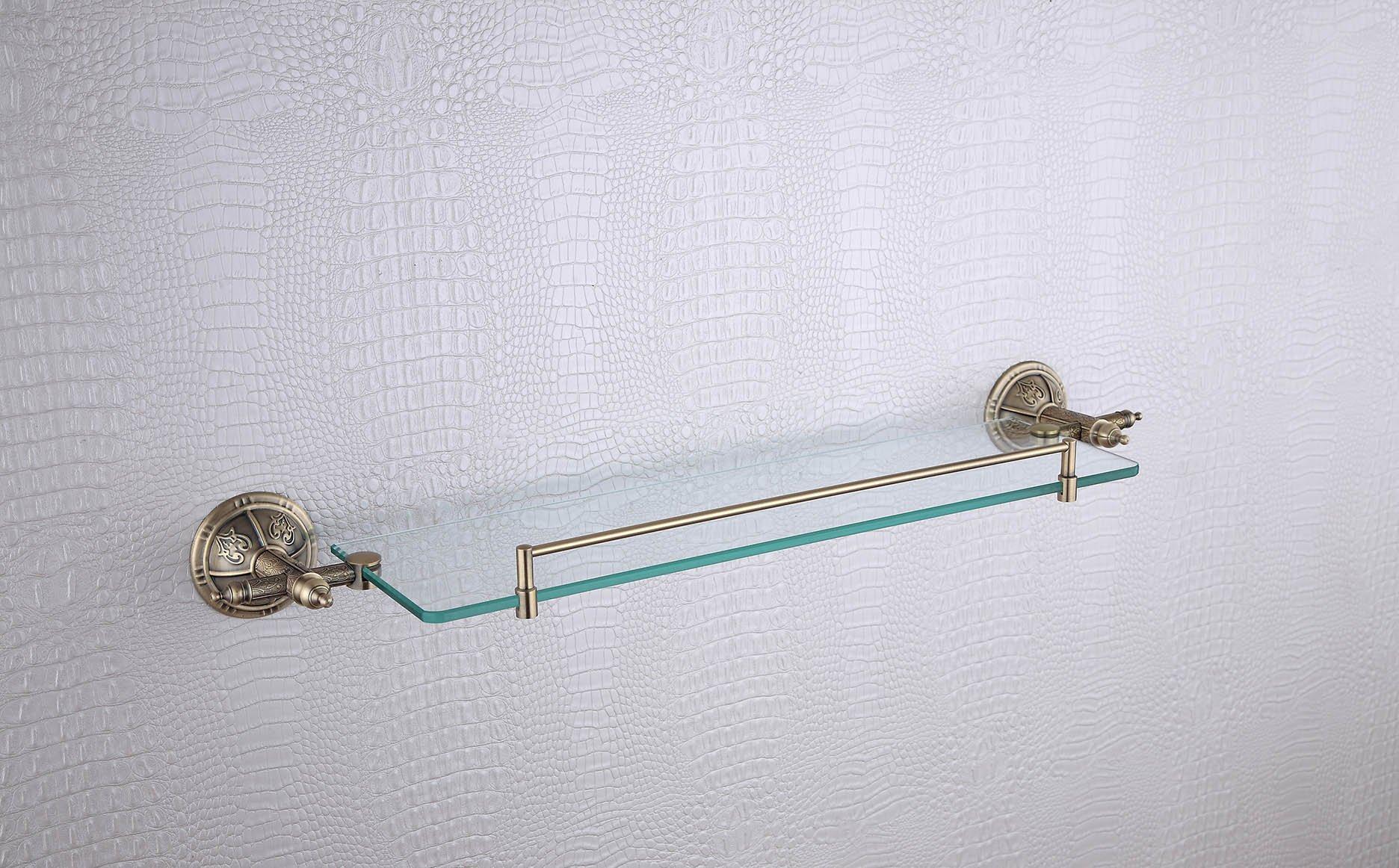 Cloud Power Roma Colletion Bathroom Brass Single Glass Shelves Single Glass Shelves With Bronze Wall-mounted Single Glass Shelves