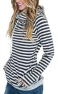 ECOWISH Damen Gestreift Pulli Hoodies Pullover Langarm Sweatshirt  Kapuzenpulli Top Jacke fc0482375d