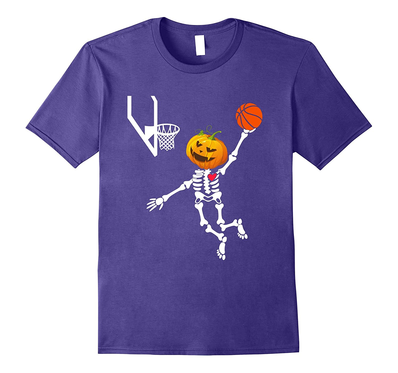 basketball skeleton halloween shirt Pumpkin head-TJ