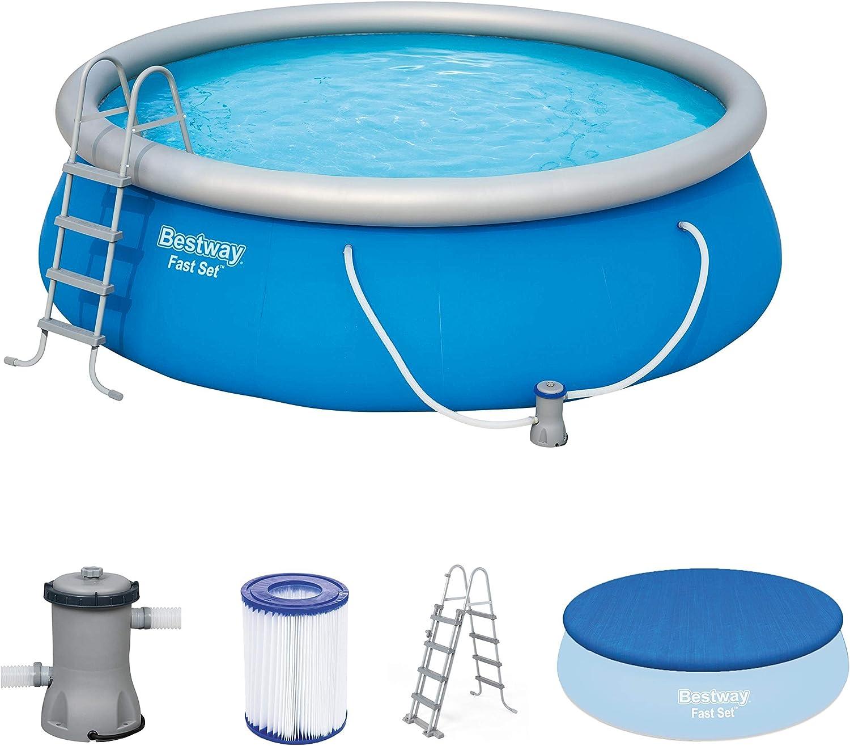 Bestway Fast Set, Con depuradora (Piscina hinchable, Círculo, 13807 L, Azul, PVC), 457x122 cm: Amazon.es: Juguetes y juegos