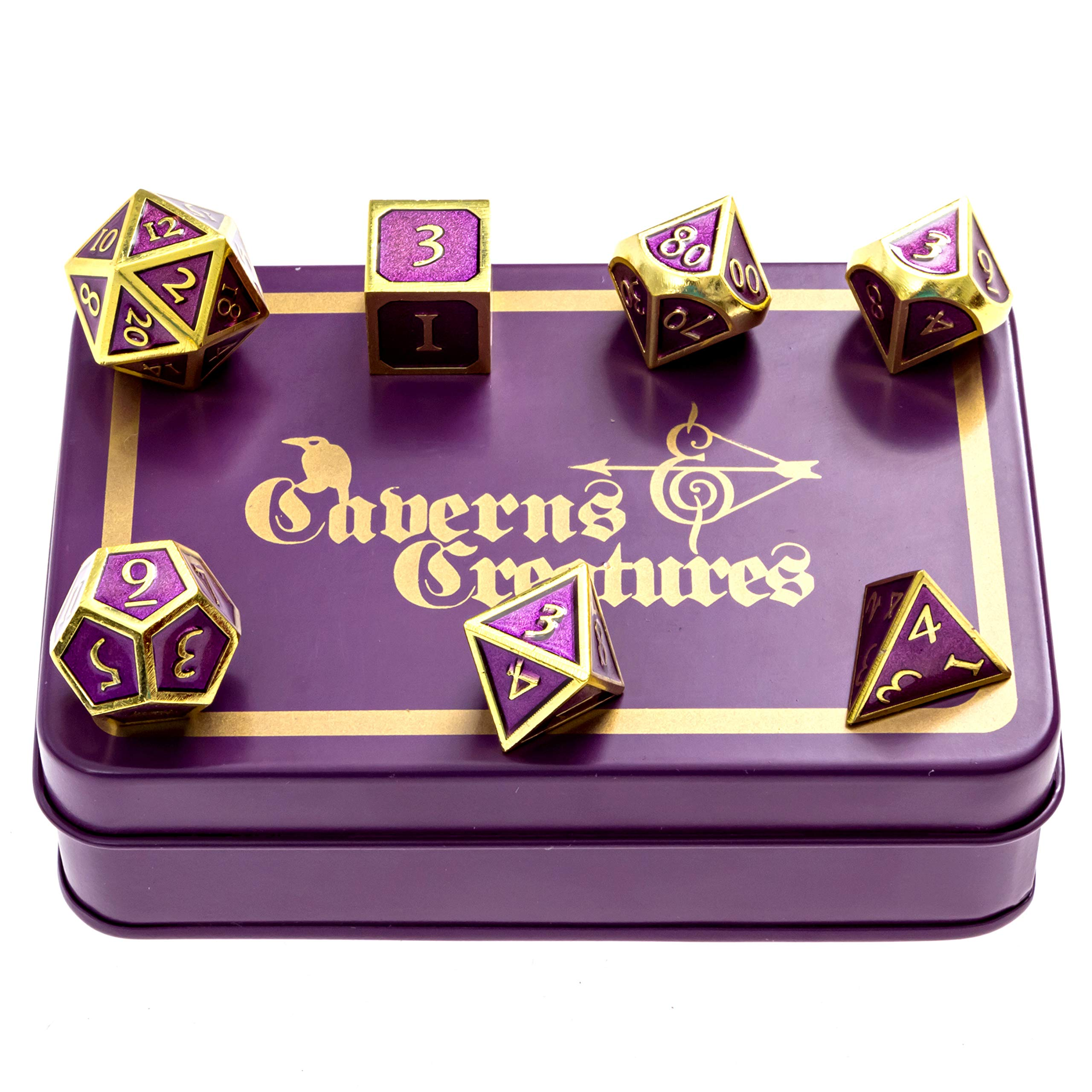 Caverns & Creatures Pimp Dice: Purple Metal RPG Dice with Gold Numbers in Stylish Tin Display Case